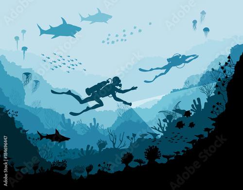 Fotografia Diver explorers and reef Underwater wildlife