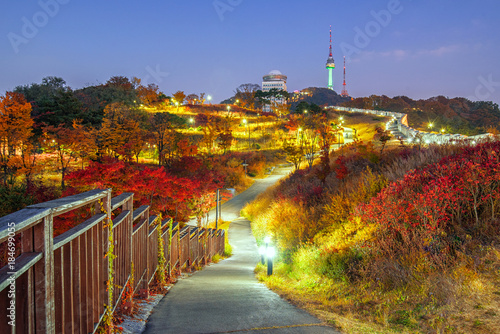 Namsan Park Autumn at night in Seoul,South Korea.