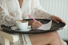 Woman Writing Letter Statement...