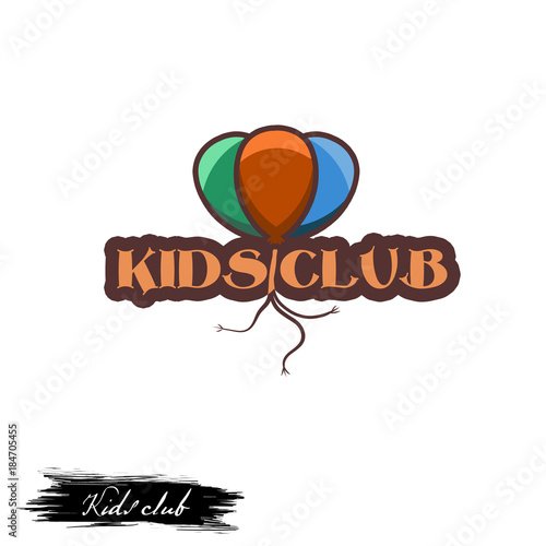 Kids Club Logo Design With Color Air Balloons And Inscription
