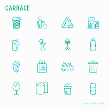 Garbage Thin Line Icons Set: G...