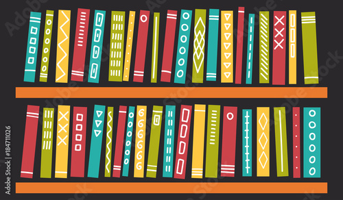 Books with ornament on shelves on dark background. Education, studying, readi...