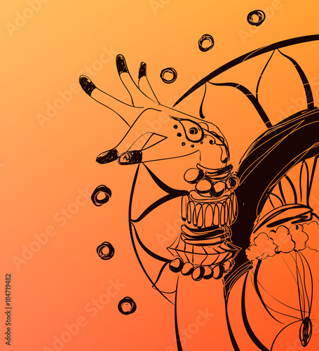 hand drawn india style illustration vector decorative woman s hand