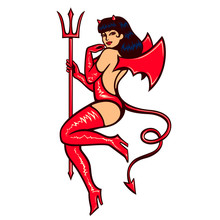 Sexy Vintage Pinup She Devil Girl Temptress In Erotic Red Latex Demon Outfit With Trident Vector Illustration