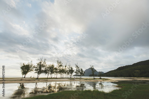 White sand beach and Le Morne Brabant mountain, Mauritius beach panorama Poster