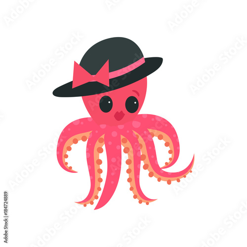 Pink Octopus With Plump Lips And Big Shiny Eyes Cartoon Mollusk