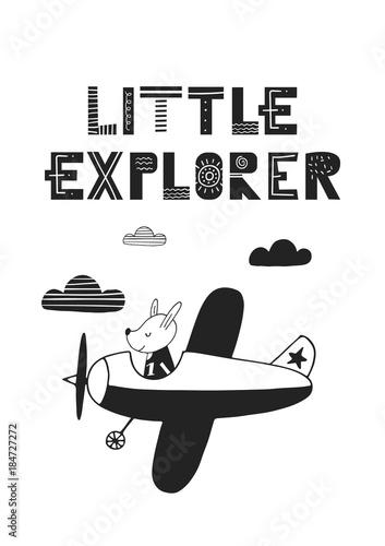 maly-odkrywca-wyjatkowy-recznie-rysowany-plakat-dla-dzieci-z-recznie-rysowanym-napisem-w-stylu-skandynawskim-ilustracji-wektorowych