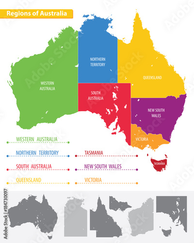 Regions Of Australia Map.Map Of The Regions Of Australia Buy This Stock Vector And Explore