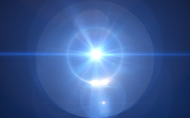 streszczenie niebieskie światło grube soczewki pochodni na czarnym tle