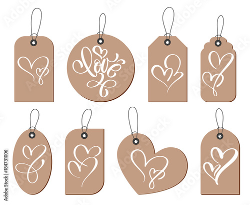 Kraft Gift Tags With The Inscription Love And Two Heart Collection