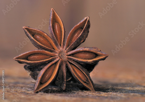 closeup on star anise or chinese badian on wooden plank Canvas Print