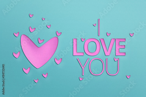 Stampa su Tela I LOVE YOU - Paper Origami background