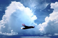 Fixed Wing Surveillance Drone In Flight - Unmanned Aircraft System