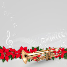Trumpet With Red Poinsettia Flower Christmas Ornament