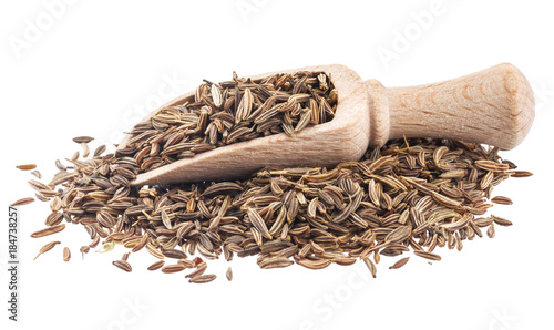 Cumin or caraway seeds in scoop isolated on white background. Collection