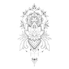 Sketch Flower With Ornament On...