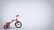 Vintage Red Tricycle - White Background