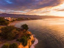 Aerial View Of Leadbetter Point At Sunrise, Santa Barbara, California