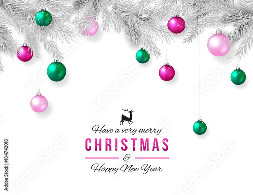 merry christmas and happy new year background elegant xmas decoration silver branch and hanging pink