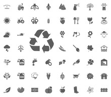 Recycling Icon. Gardening And Tools Vector Icons Set
