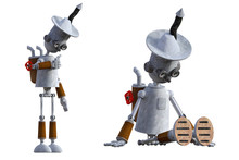 Robot Tinman Isolated On White. 3d Render