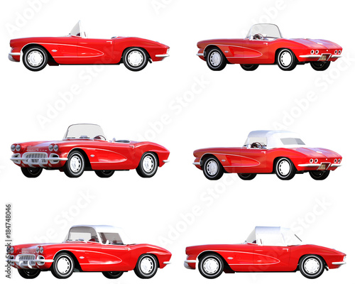 Red corvette vintage car isolated on white. 3d render Canvas-taulu
