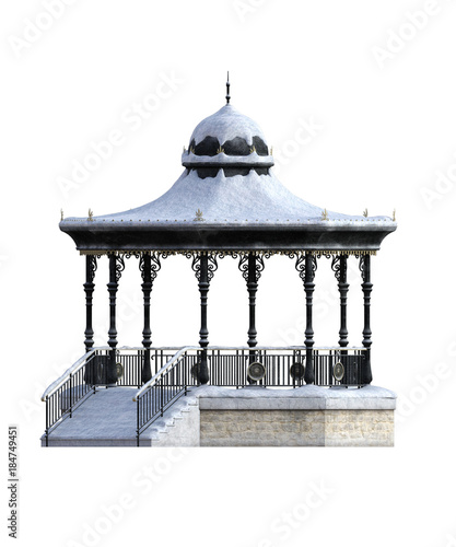 Bandstand side view covered in snow isolated on white. 3d render Canvas Print