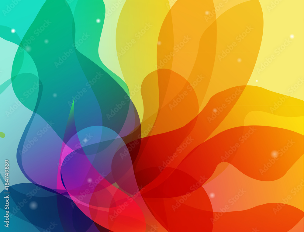 Abstract colored flower background with shapes.