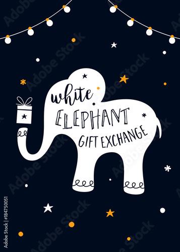 Fototapeta premium White Elephant Gift Exchange Game Vector Illustration
