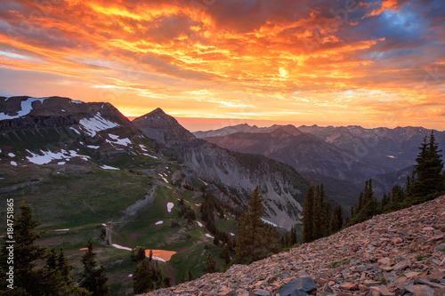Foto op Aluminium Aubergine Colorful summer sunset in the Wasatch, Utah, USA