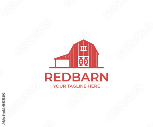 Red Barn Logo Template. Farm Vector Design. Building Illustration Wall mural