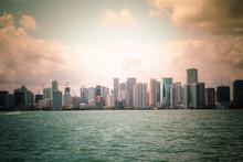 Beautiful Miami Florida Skyline Across Biscayne Bay