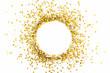 canvas print picture - Golden shiny confetti on a white background. Round frame made of confetti. Festive confetti.
