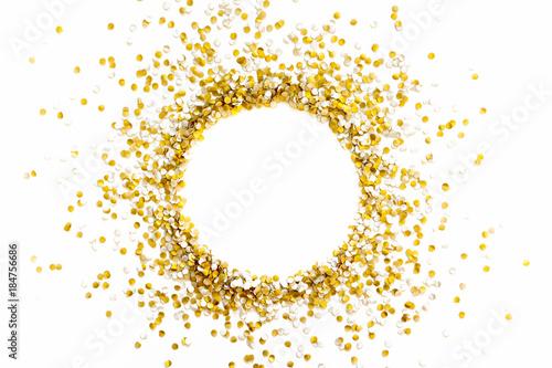 Golden shiny confetti on a white background Canvas-taulu