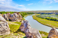 Hoodoo Badlands At Writing-on-Stone Provincial Park In Canada