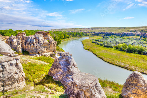 Hoodoo Badlands at Writing-on-Stone Provincial Park in Canada Canvas Print