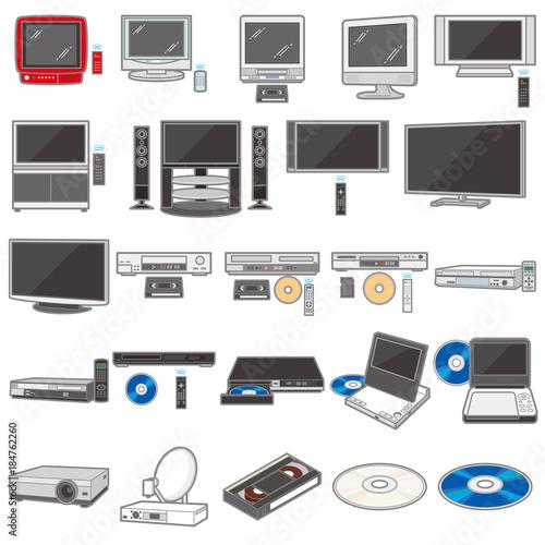 Fényképezés  様々な電化製品のイラスト / テレビ&録画機