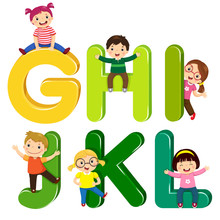 Cartoon Kids With GHIJKL Letters