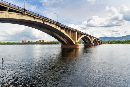 Fototapeta Communal bridge across the Yenisei river. Krasnoyarsk, Russia obraz