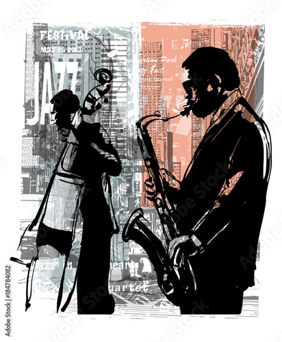 Deurstickers Art Studio Jazz in New York