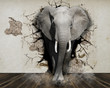 canvas print picture - Elephant coming out of the wall. Wallpaper for the walls. 3D Rendering.
