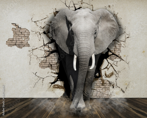 Tuinposter Olifant Elephant coming out of the wall. Wallpaper for the walls. 3D Rendering.