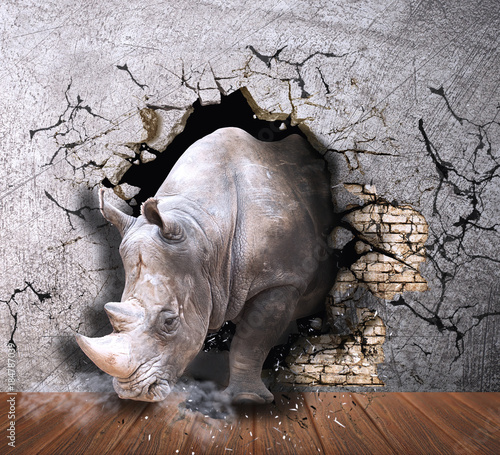 rhino-coming-out-of-the-wall-photo-wallpaper-for-the-walls-3d-rendering