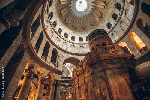 Interior of the Church of the Holy Sepulchre in Jerusalem, Israel