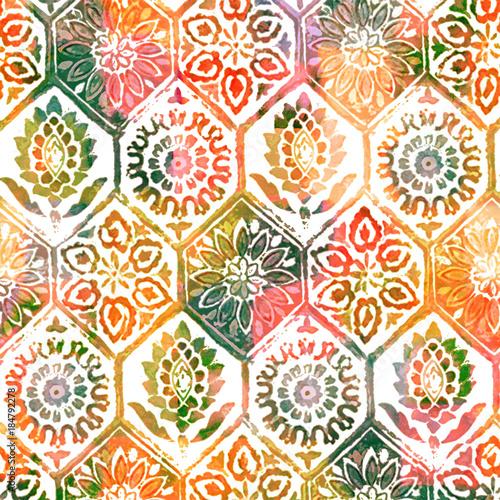 teksturowana-akwarela-kolorowy-nowoczesny-folkowy-wzor-powielony-motyw