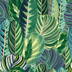 Panel Szklany Liście Tropical Green Jungle VectorSeamless Background