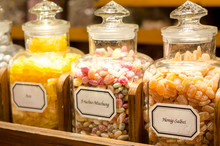 Filled Glass Candy Jars