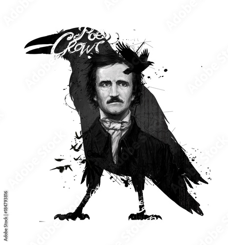Edgar Allan Poe, drawing on isolated white background for print and web Poster