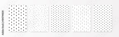 Christmas pattern set. A4 printing wrapping paper. Holiday collection, black silhouette isolated on white. Simple minimalist style, scandinavian nordic design for interior, backdrop card, postcard.