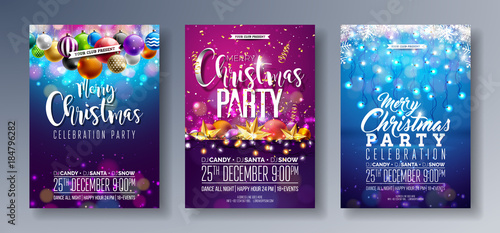 Obraz Vector Merry Christmas Party Flyer Illustration with Holiday Typography Elements and Multicolor Ornamental Balls, Cutout Paper Star, Light Garland on Shiny Background. Celebration Poster Design Set. - fototapety do salonu